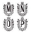 royal coat of arms set m n o p monogram vector image