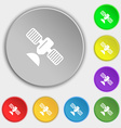 satellite icon sign Symbol on eight flat buttons vector image