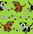 Seamless dogs and bones borders vector image