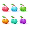 set color cartoon cherry vector image vector image