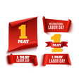 set of five red realistic1 may labor day banners vector image