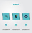 set of safety icons flat style symbols with vector image vector image