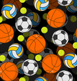 Sports ball 3d seamless pattern Balls decoration vector image vector image