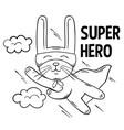 superhero cute white rabbit flies vector image vector image