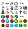 surfing and extreme flat icons in set collection vector image vector image