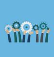 teamwork hands hold gears idea brainstorm vector image