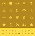Vintage item color icons on brown background vector image vector image