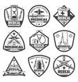 vintage monochrome medical labels set vector image