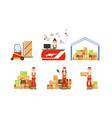 warehouse logistics and distribution warehouse vector image vector image