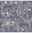 winter seamless pattern with snowflakes and funny vector image vector image