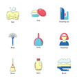 wipe icons set flat style vector image vector image