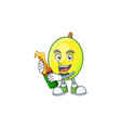 with beer gomortega fruit cartoon character mascot vector image vector image