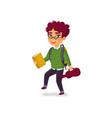 a boy with book violin and backpack on white vector image