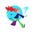 a cute girl with shopping cute red-haired girl vector image vector image