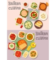 Balkan cuisine dinner dishes with pies icon set vector image vector image
