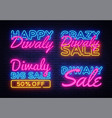 big collection neon signs for diwali festival vector image vector image