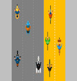 bikers and cyclists group top view vector image vector image