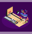 bowling isometric composition vector image