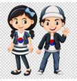 boy and girl wearing shirts with south korea flag vector image vector image