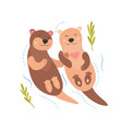 bright card with cute otters in love vector image vector image