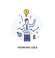 businessman with a light bulb offers new ideas vector image