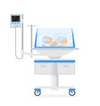 cartoon color infant incubator with little newborn vector image vector image