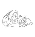 cat and dog line art 15 vector image vector image