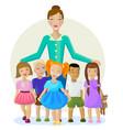 children and teacher cartoon vector image
