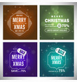 christmas card with snow background set vector image vector image