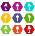 close lamp icons set 9 vector image vector image
