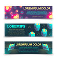 colorful crystalls banner template set vector image vector image