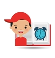 cute boy book open clock vector image