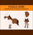 cute horse cartoon complete the puzzle vector image vector image