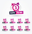 days to go flat icon with clock number 1 to 7 vector image