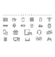 devices concept line style icons set vector image