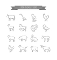 farm animals thin line icons set vector image vector image