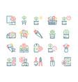 flowers symbols color linear icon set vector image vector image
