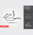 frying pan with lid line icon with editable vector image vector image