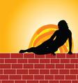 girl on brick wall vector image vector image