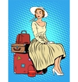 girl passenger baggage travel trip vector image