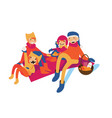 happy family of mom dad and kids having picnic at vector image vector image