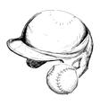 helmet ball baseball sport design vector image vector image