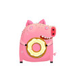 humorous pig holding donut vector image