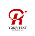 initial letter r logo template colored red arrow vector image