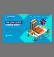 law justice composition concept landing web page vector image vector image