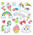 magic cute unicorn stars on clouds poster vector image vector image