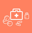 medical kit box and pills - medicine and pharmacy vector image vector image