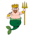 neptune cartoon character is king of the sea vector image vector image