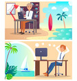 office workers daydream about vacation abroad set vector image vector image