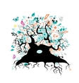 Old floral tree with roots for your design vector image